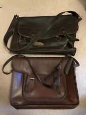 2 x VINTAGE LEATHER SATCHELS / CASES / BAGS
