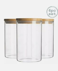 6pc Glass Jar With Wooden Lid Storage Container Airtight 540ml