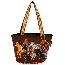 Laurel Burch Brown Native Horses Gold Accents Large Oversize Tote Bag NWT