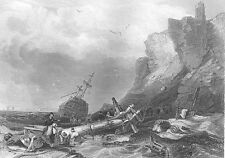 TYNEMOUTH CASTLE PRIORY SHIPWRECK ON ROCKY SHORE WEAR ~ 1840 Art Print Engraving