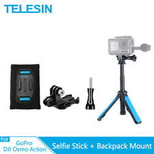 TELESIN Selfie Stick Tripod + Backpack Strap Mount J-Hook For GoPro Osmo Action