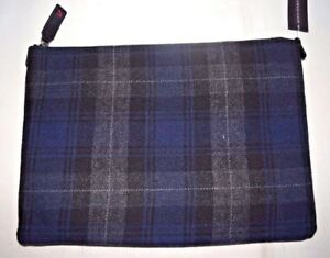 NEW Banana Republic Wool Plaid iPad Tablet Pouch Cover Case Zip Envelope $59 NWT