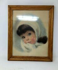 Vintage 1950's Framed Little Girl Snowsuit Print Winter Christmas Wall Decor