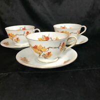 Set of 3 Vintage CRAFTSMAN CHINA GOLDEN AUTUMN Teacups Saucers