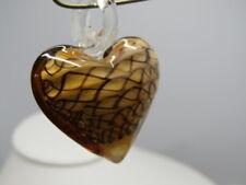 "Root Beer Blown Glass Heart Pendant,Swirled, 1.75"""