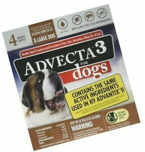 Advecta 3 For X-Large Dogs 55+ Lbs 4 month supply Same as K9 Advantix II