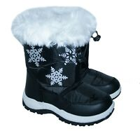 GIRLS BLACK WARM LINED SNOW BOOT WITH SNOW FLAKE TRIM AND FUR COLLAR SIZE 4