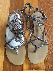 New Colin Stuart Victoria's Secret Pewter Sandals Shoes Lace Up Gladiator Sz 7.5
