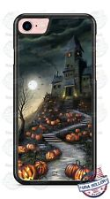 Halloween Haunted House Spooky Pumpkins Phone Case Cover for iPhone Samsung