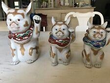 Maneki Neko Kutani 3 beckoning cats