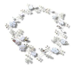 Long Wedding Hair Vine Diamanté Crystal Crochet flowers Boho Headpiece, Prom UK