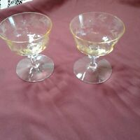 """Vtg. 2 Etched Flowers Stemware Crystal Glass Clear To Yellow Wine Champagne 4"""""""