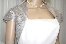 SILVER / GREY GRAY LACE BOLERO Bridal Wedding  FORMAL JACKET Medium SHRUG NEW