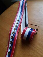 Vtg Belt Red White Blue Sewn Vinyl Wide Belt 10 Grommeted Holes Adjustable WaIst