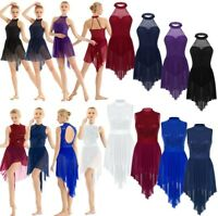 Women Ballet Lyrical Dance Dress Sleeveless Sequins Halter Leotard Dress Costume