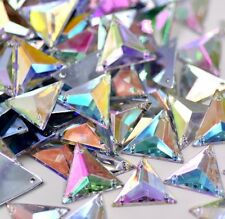 40 x AB Clear Triangle Beads Acrylic Rhinestones/Gems 17mm Flat Back Sew On