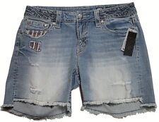 Miss Me Star Spangled Beauty Mid Shorts Sz 25 Distressed W/ Rhinestones Mp7342d