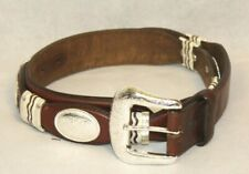 Tony Lama Mens Western Belt Size 36 Brown Leather Silver Conchos Lacing Rodeo