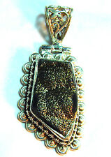 "sterling silver, titanium golden shimmer druzy pendant,  2"" x 1"", 15.69 grams"