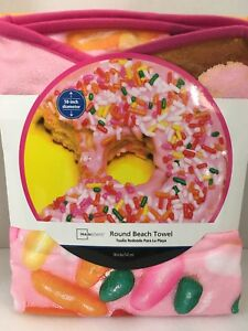 Pink Donut Doughnut Round Beach Pool Towel Blanket BIG 58 inches