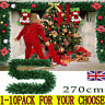 9ft Large Christmas Fireplace Garland Decorations Wreath Pine Rattan Tree Deocr