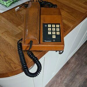 Vintage leather 1982 R  BT GTE Push Button Retro Rhapsody British Telecom phone