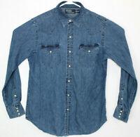 Vtg Mens Polo Ralph Lauren Pearl Snap Denim Blue Jean Western Shirt Size M