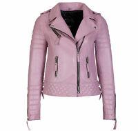 Women's Genuine Lambskin Leather Jacket Biker Jacket Light Pink Slim Fit Outwear