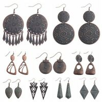 Women Bohemia Boho Irregular pattern Plated Red Copper Alloy Dangle Earrings