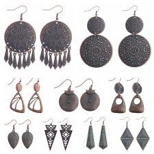 Women Bohemia Boho Irregular pattern Plated Red Copper  Alloy Dangle Earrings