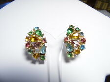 Vintage Gold Tone Multi-Colored Rhinestone Fan Shaped Screw-On Earrings
