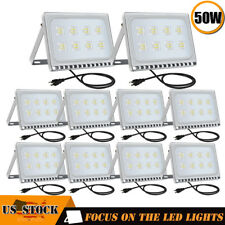 10X50W Led Flood Light Garden Path Outdoor Security Lamp Us Plug 110V Cool White