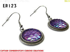 steampunk earrings lilac fish dragonscale hypoallergenic stainless steel #ER123