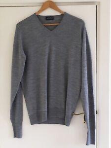John Smedley mens extra fine merino wool light grey knit sweater jumper medium