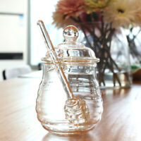 250ML Glass Honey Pot Clear Jam Jar Set with Dipper and Lid for Home Kitchen Use