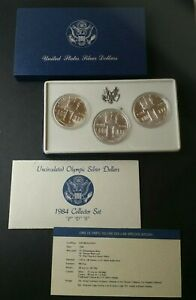 1984 P, D, and S $1 Uncirculated Olympic Silver Dollars Set