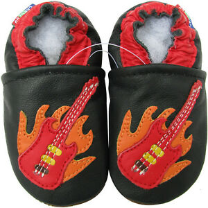 carozoo guitar black outdoor rubber sole leather shoes up to 4 years old
