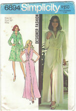 Simplicity 6894 Vtg 1970s Shirtdress Maxi Dress Pattern Size 16 B38 Uncut