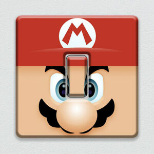 Super Mario Face Nintendo Character UK Light Switch Vinyl Sticker for Game Room