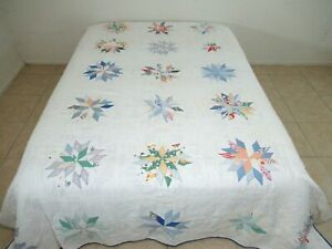 QUEEN Vintage Hand Pieced & Quilted Feed Sack 16-POINT STAR Quilt