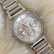 NWT!Coach 14502036 Women's Sport 1941 Silver Stainless Chronograph Watch $295