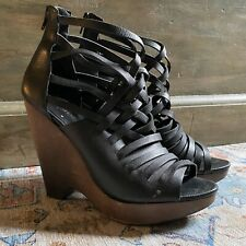 RARE RACHEL ZOE PROJECT NINE WEST GENUINE LEATHER CAGED WEDGES 8