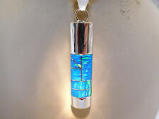 "Long TUBULAR Bright Blue Glowing Fire Opal Pendant Sterling Silver 925 2"" LARGE"
