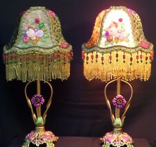 Pair of Antique Tole Lamps W/Hand Made Ribbon Work Flower Lamp Shades 1920's era