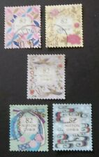 JAPAN USED 2018 TRADITIONAL DESIGNS 82 YEN 5 VAL VF COMPLETE SET SC# 4185 a - e