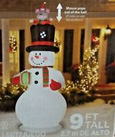 RARE NEW GIANT 9 FT TALL CHRISTMAS ANIMATED SNOWMAN WITH MOUSE INFLATABLE GEMMY