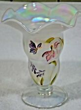 Nancy FENTON GLASS VASE LIMITED HAND PAINTED RIBBON TOP M Caplinger , #82 (41B)