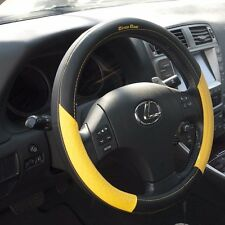 Black Yellow PVC Leather Steering Wheel Cover Acura Audi Integra 38cm non-slip