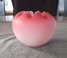 ANTIQUE MT WASHINGTON SATIN PINK TO LIGHT PINK WHITE CASED GLASS ROSE BOWL