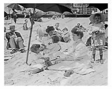 Vintage photo-Beach scene-men-women-children-8x10 in.